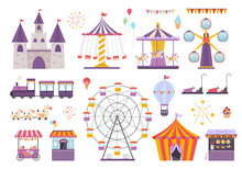 Amusement Park Set. Colorful Carousel With Horses, Ferris Wheel, Fun On Aroller Coaster, Orange Ice Cream Tent, Children S Electric Cars, Children S Train, Fireworks And Balloon. Vector Graphics