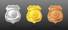 Police Officers Badges In Thre...