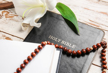 Holy Bible, Flower And Rosary ...