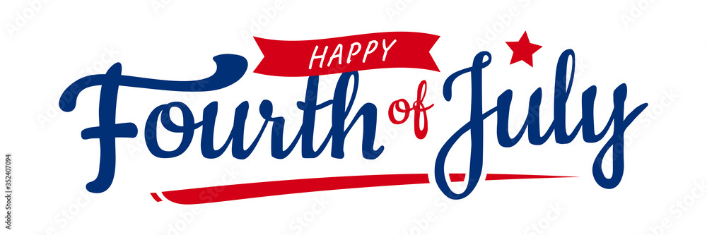 Fototapeta Trendy Fourth of July hand-lettering design with star and ribbon. Vector design.