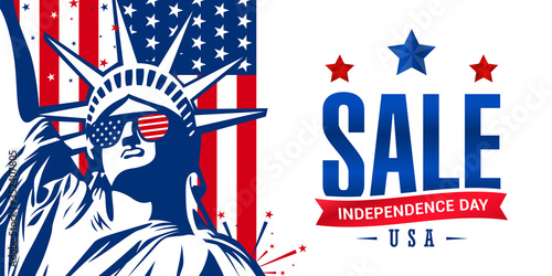 Photo 4th of July independence day sale banner with American flag and statue of liberty use for sale banner, discount banner, advertisement banner, etc