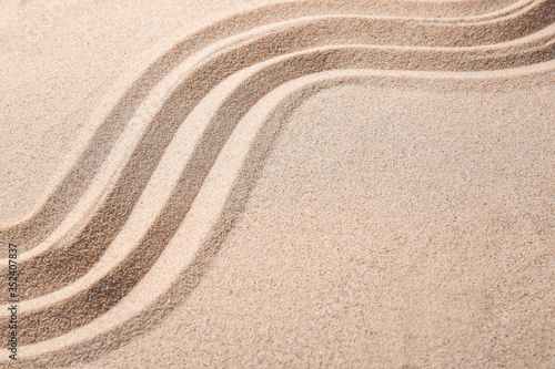 Obraz Texture of sand with lines. Zen concept - fototapety do salonu