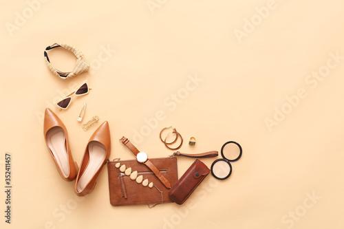 Obraz Female accessories on color background - fototapety do salonu