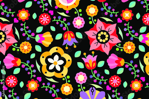 Flowers folk art patterned on black background vector Canvas Print