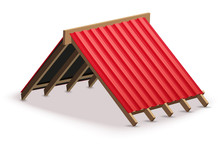 Red Metal Roofing Cover On The...