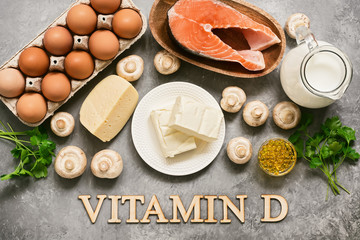 Foods Rich In Vitamin D. Products high in vitamin D. Top view, flat lay, lettering.