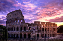 Colosseum In Rome At Sunset Ag...