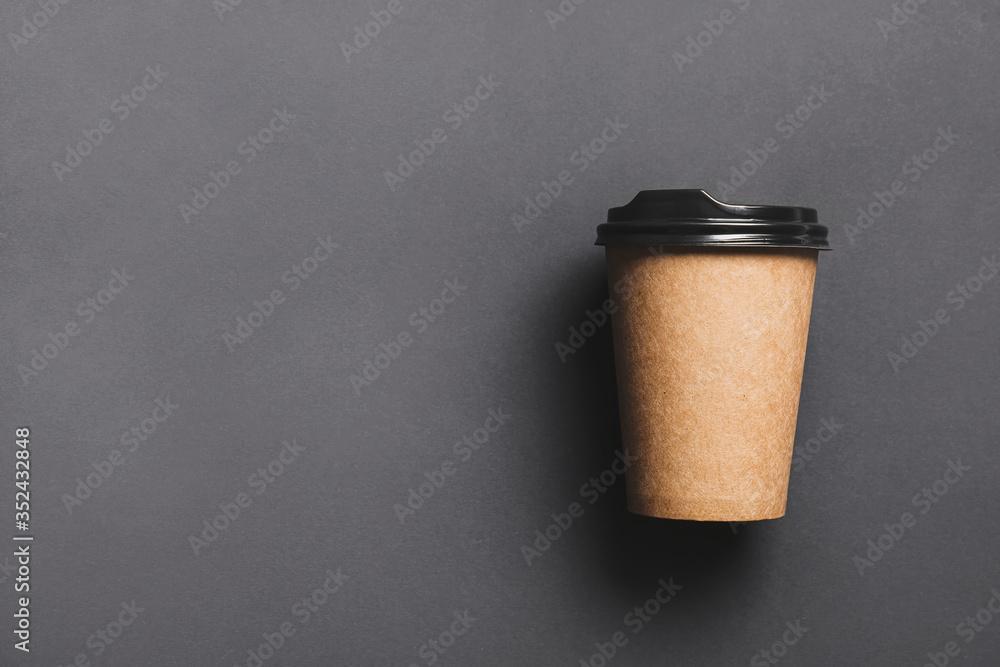 Fototapeta Takeaway cup for drink on dark background
