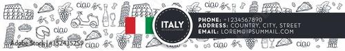 Valokuvatapetti Cartoon cute hand drawn Italian travel background