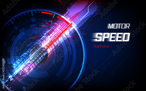 Speed motion background with fast speedometer car Fototapeta