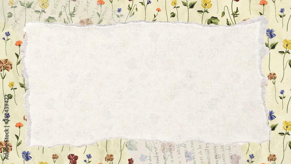 Fototapeta Torn paper on a floral background vector