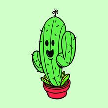 Green Saguaro Cactus Sticker D...