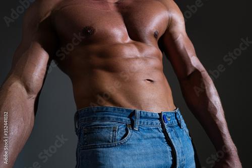 Fotografia Sexy muscular man torso six packs