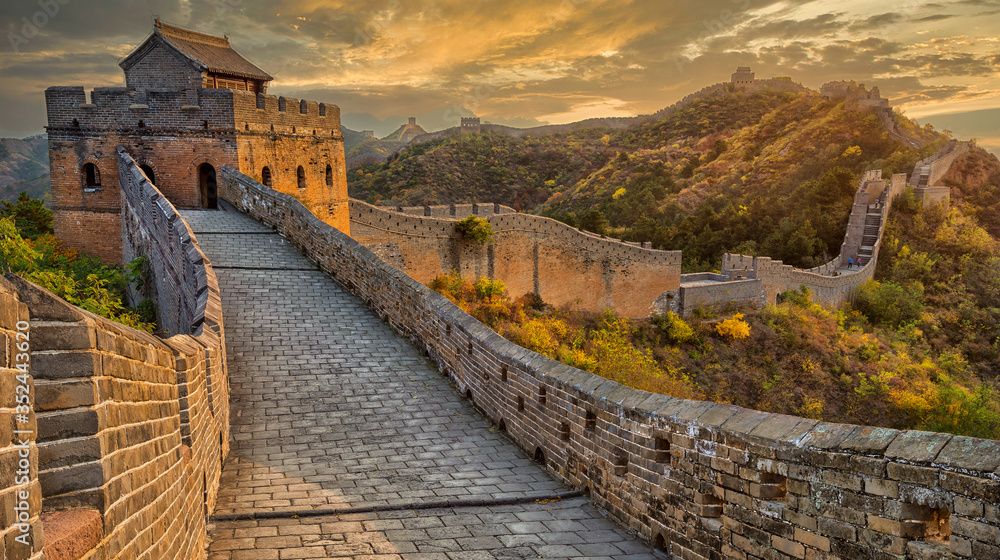 Beautiful sunset at the Great Wall of China