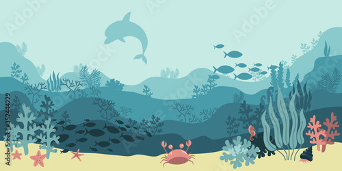 background underwater world, sea ocean, fish animals, algae and coral reefs, vec Canvas Print