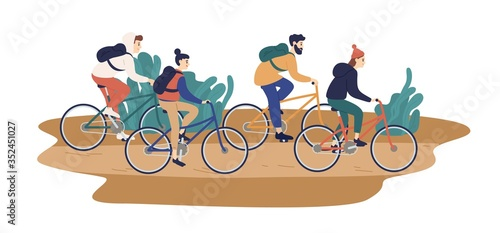 Obraz Group of smiling young friends riding bicycles together vector flat illustration. Colorful man and woman during touristic bike trip isolated on white background. People enjoying outdoors activity - fototapety do salonu