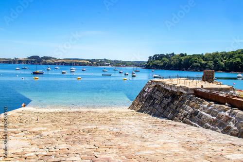 Vászonkép Douarnenez. Mise à l'eau au port du Rosmeur, Finistère, Bretagne