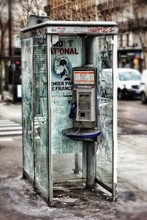 Abandoned Telephone Booth On Street