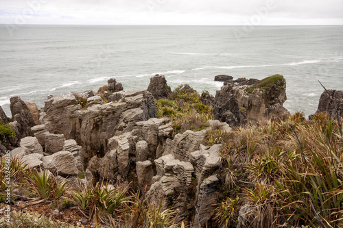 The stunning rocks of Punakaiki, Pancake rocks blowholes, are a tourist attraction Wallpaper Mural