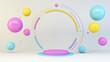 Leinwandbild Motiv Pink platform with floating colorful spheres