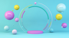 Pink Platform With Colorful Spheres