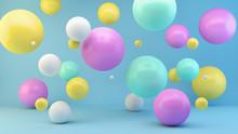 Colorful Floating Spheres 3d Rendering