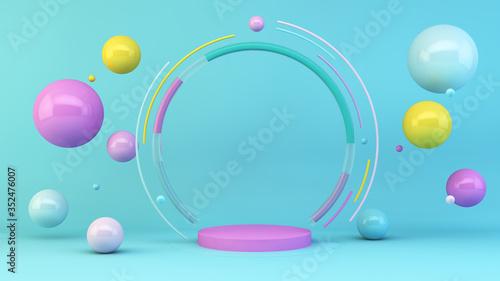 Pink platform with colorful spheres Fototapet