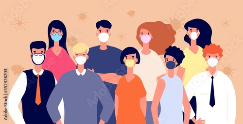 Obraz People in medical masks. Flu virus prevention. Man woman wearing individual health protection, covid-19 or coronavirus vector illustration. Protection people mask against coronavirus, safety crowd - fototapety do salonu
