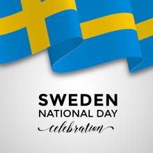 Sweden National Day Card, Banner, Poster Design With The Swedish 3D Flag. Vector Illustration.
