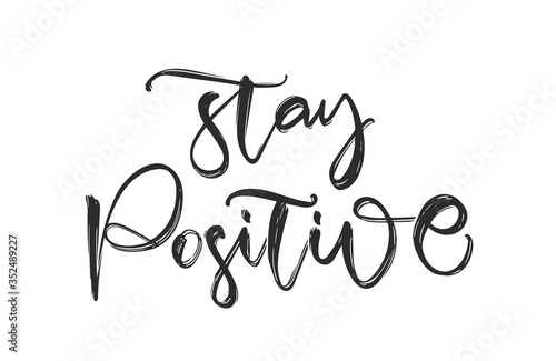 Handwritten calligraphic brush lettering fo Stay Positive Canvas Print
