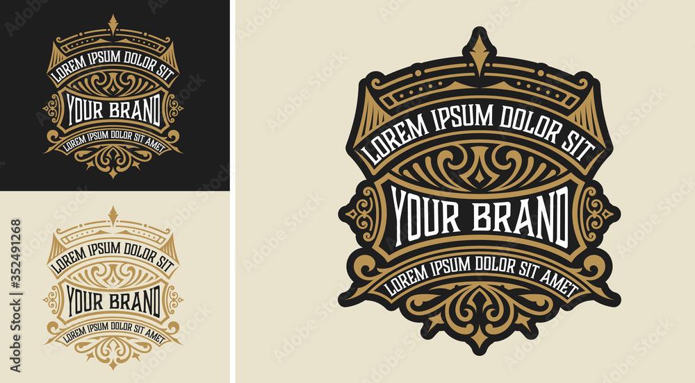 Fototapeta Vintage Luxury Logo / Label Template Design for Label, Frame, Product Tags. Retro Emblem Design. Vector illustration