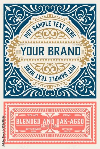 Old  label design for Whiskey and Wine label, Restaurant banner, Beer label Canvas Print