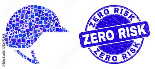Tela Geometric motorcycle helmet mosaic icon and Zero Risk seal stamp
