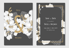 Set Of Wedding Card Invitation With White And Gold Royal Poinciana Flowers Hand Drawn On Black Tone Background