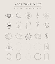 Collection Of Vector Hand Drawn Logo Design Elements, Geometric Frames, Borders, Detailed Decorative Illustrations And Icons For Various Ocasions And Purposes. Trendy Line Drawing, Lineart Style