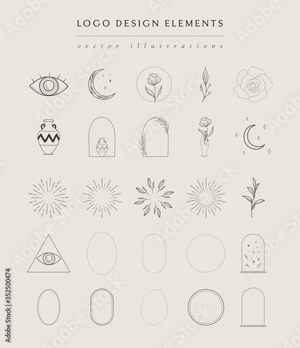 Foto Collection of vector hand drawn logo design elements, geometric frames, borders, detailed decorative illustrations and icons for various ocasions and purposes