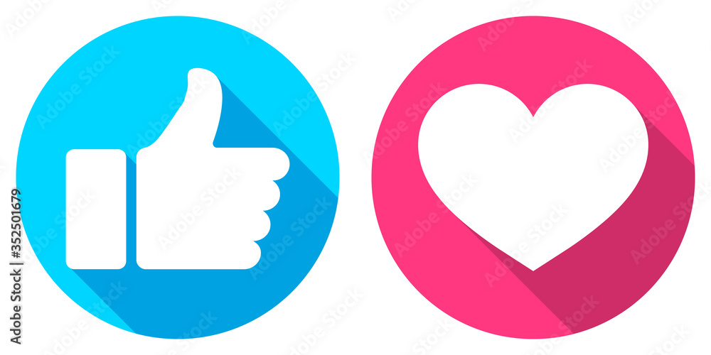 Fototapeta Thumb up and heart icon. Vector like and love icon. Ready like and love button for website and mobile app.