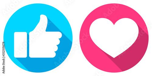 Canvastavla Thumb up and heart icon