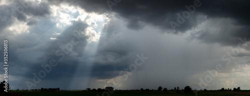 Panorama Super storm , Dark sky and dramatic black cloud before rain Canvas Print