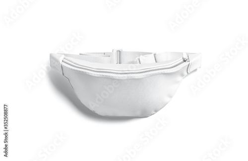 Obraz Blank white waist bag mock up lying, top view - fototapety do salonu