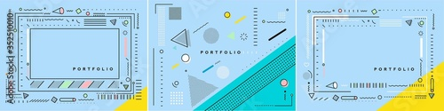Abstract banner with Portfolio Calligraphic line art text poster with space of your photo, vector illustration Design Fototapeta