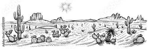 Fotomural Desert panorama landscape, vector illustration