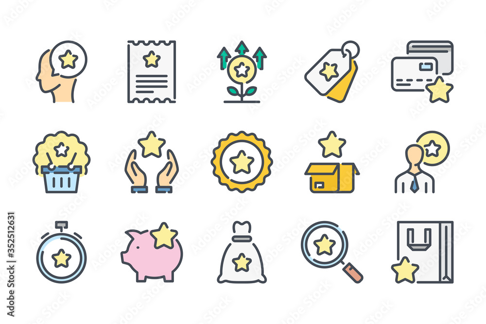 Fototapeta Loyalty Program and Client Bonuses related color line icon set. Customer Reward Service colorful linear icons. Coupon, Cashback and Point Tickets flat color outline vector sign collection.