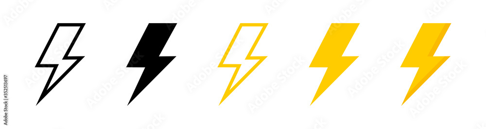 Fototapeta Electric vector icons, isolated. Bolt lightning flash icons. Flash icons collection. Bolt logo. Electric symbols. Electric lightning bolt symbols. Flash light sign. Vector illustration - obraz na płótnie