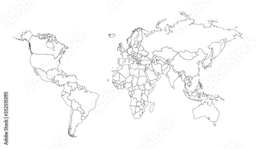 Fotografie, Obraz World line continent Asia country, Europe map illustration, vector isolated on w