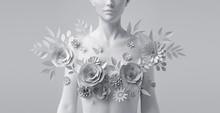 3d Render, Floral Female Bust,...