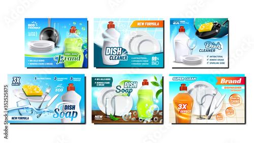 Slika na platnu Dish Soap Detergent Advertising Posters Set Vector