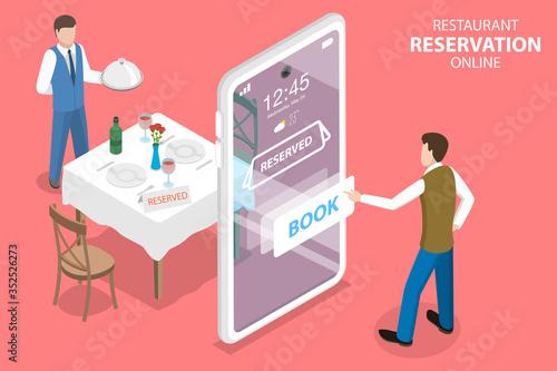 Fototapeta 3D Isometric Flat Vector Concept of, Restaurant and Cafe Online Food Order App, Table Online Reservation, Mobile Booking. obraz