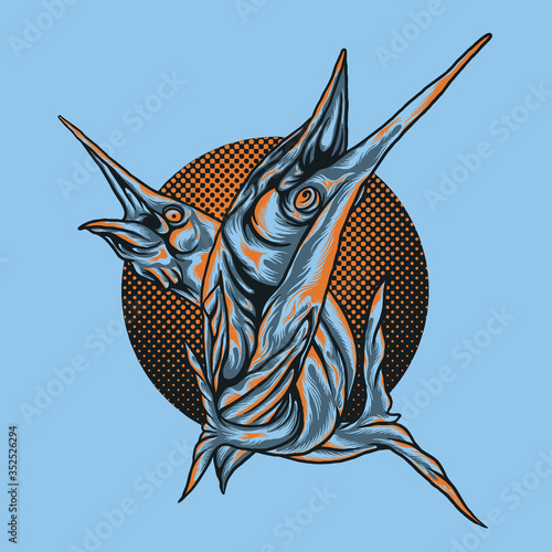 battle marlin with halftone background. marlin fish Canvas Print