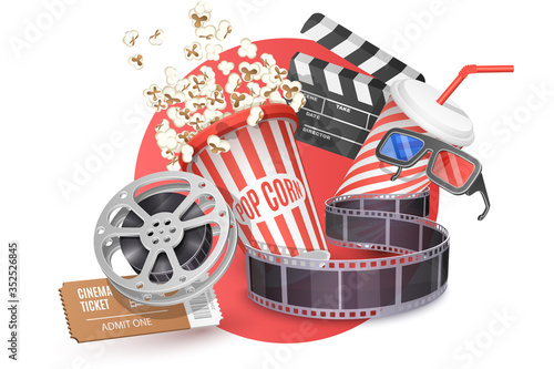 Obraz 3D Vector Concept of Cinema Poster Composition with Popcorn, Clapperboard, 3d Glasses and Filmstrip, Movie Theater Icon, Cinematography and Filmmaking. - fototapety do salonu